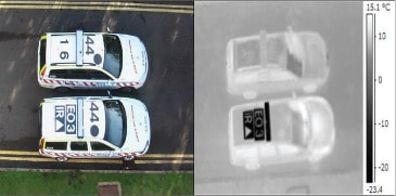 These images demonstrate how Mirage™ has been exploited by UK Police Forces. The upper vehicle has conventional black sign vinyl roof markings. The lower vehicle has selected black Mirage™ markings with conventional white sign vinyl letters and symbols on the rear part of the roof. Grey Mirage™ has been applied to the roof bar.
